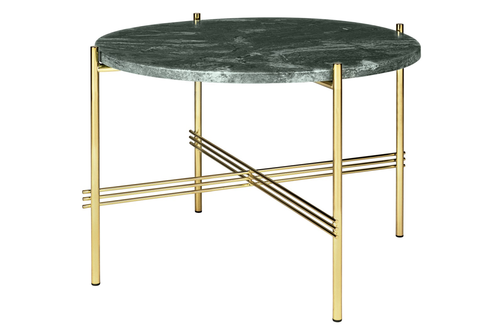 TS Round Coffee Table with Marble Top in Black Frame Gubi Marble Verde Guatemala, Gubi Metal Brass,