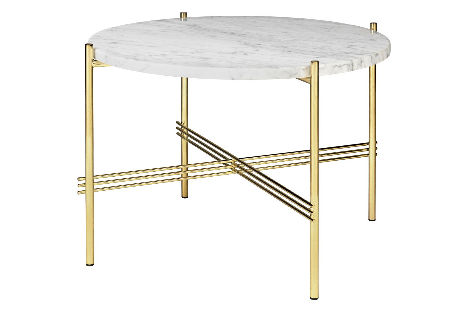 TS Round Coffee Table with Marble Top Gubi Marble Bianco Carrara, Gubi Metal Brass, 0 55 x 41 cm