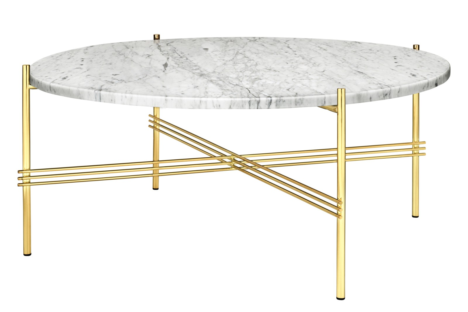 TS Round Coffee Table with Marble Top in Black Frame Gubi Marble Bianco Carrara, Gubi Metal Brass, 0