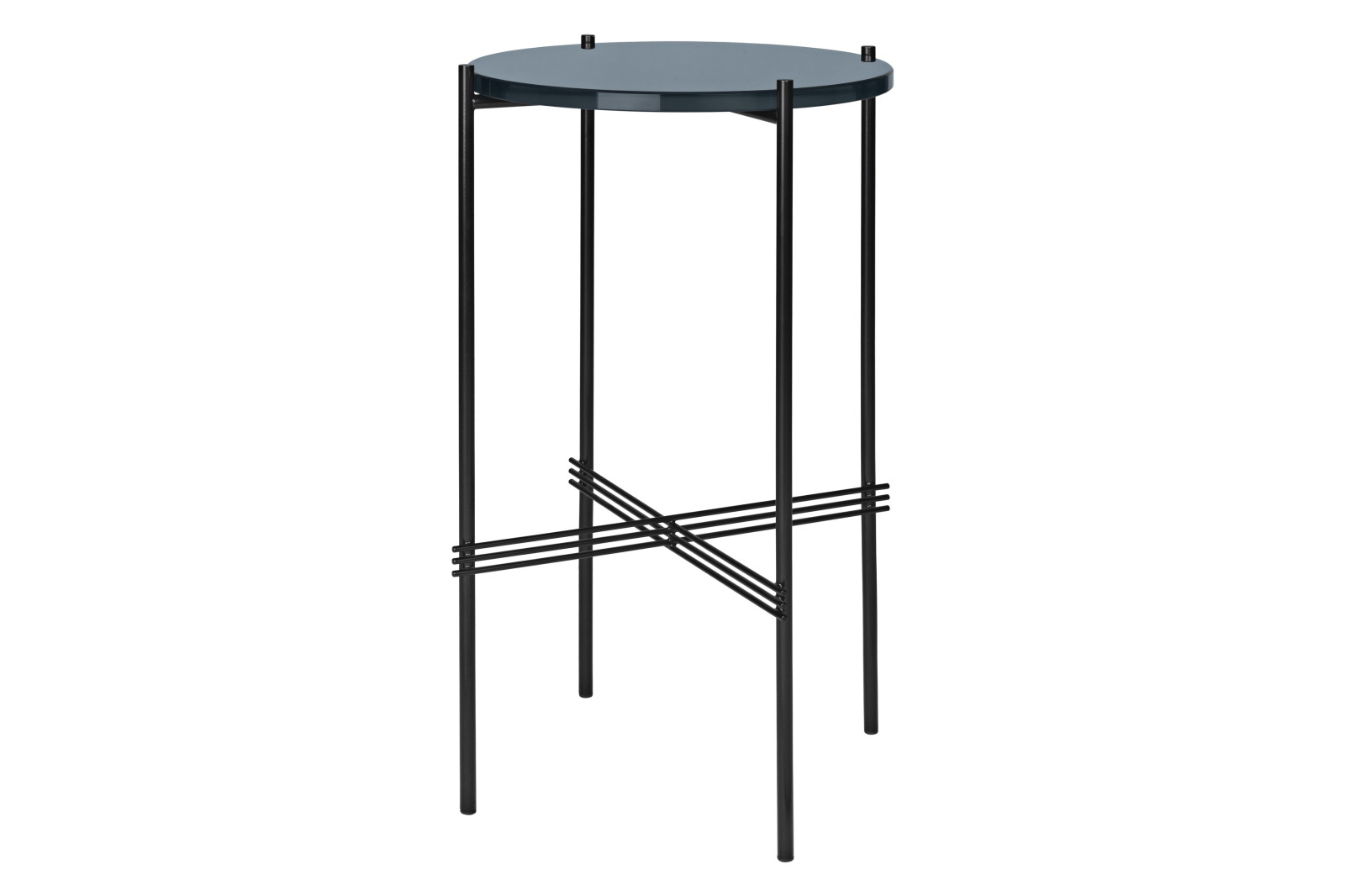 TS Round Console Table with Glass Top Grey Blue Top and Black Frame