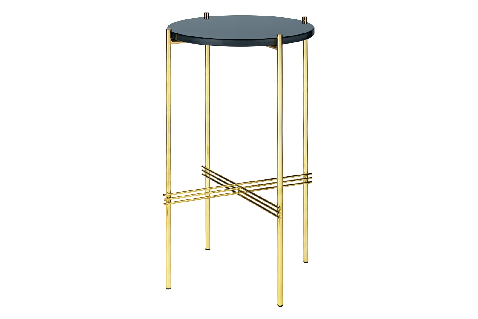 TS Round Console Table with Glass Top Grey Blue Top and Brass Frame