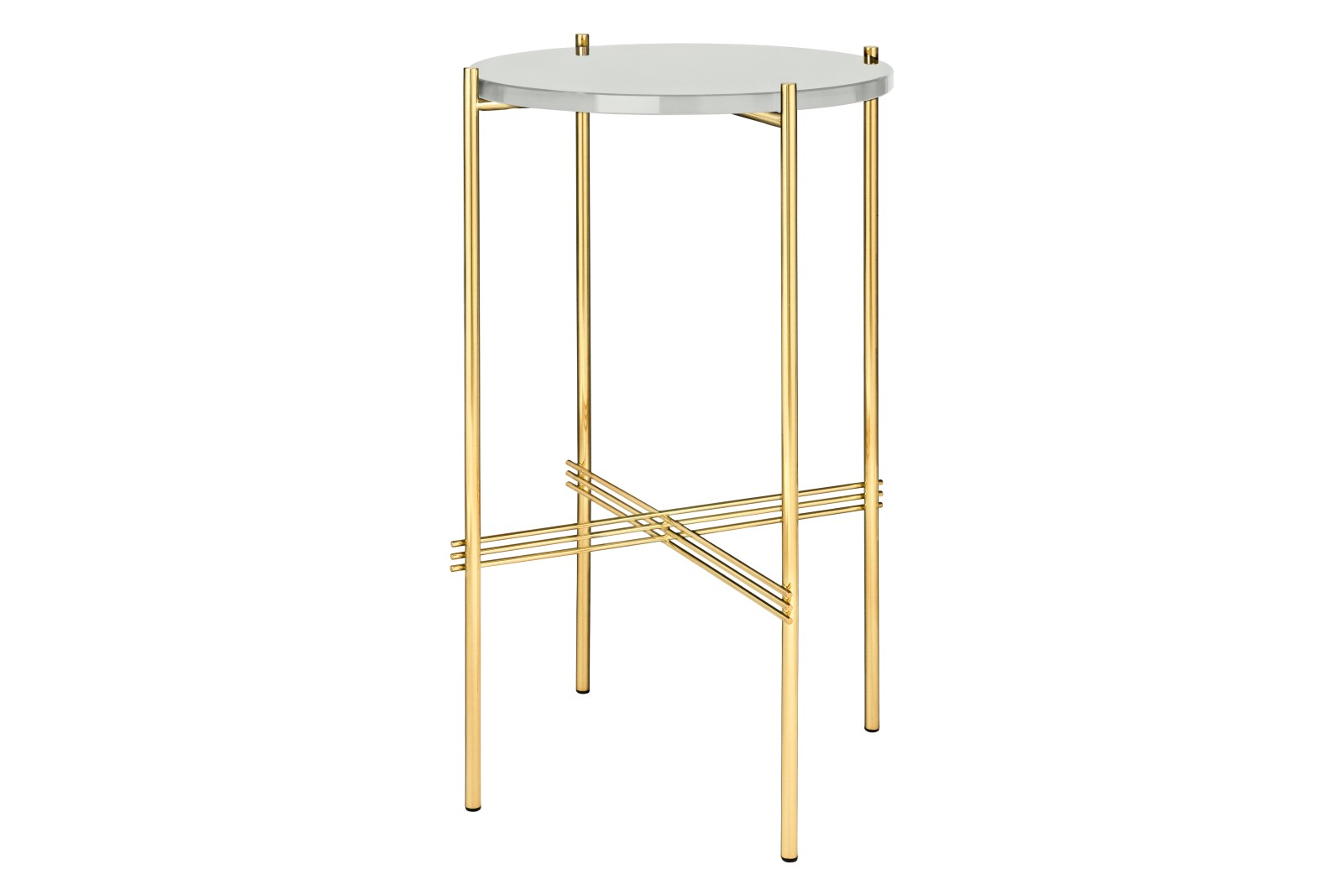 TS Round Console Table with Glass Top Oyster White Top and Brass Frame
