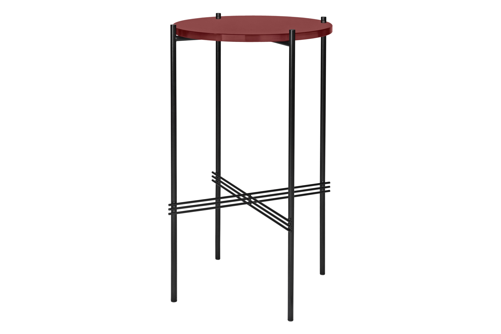 TS Round Console Table with Glass Top Rusty Red Top and Black Frame