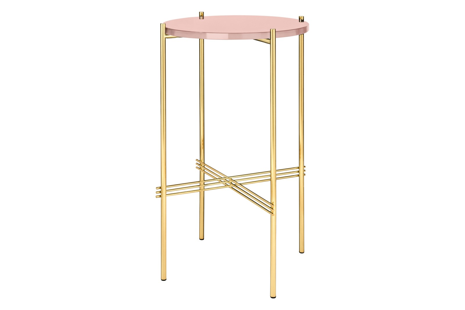 TS Round Console Table with Glass Top Vintage Red Top and Brass Frame