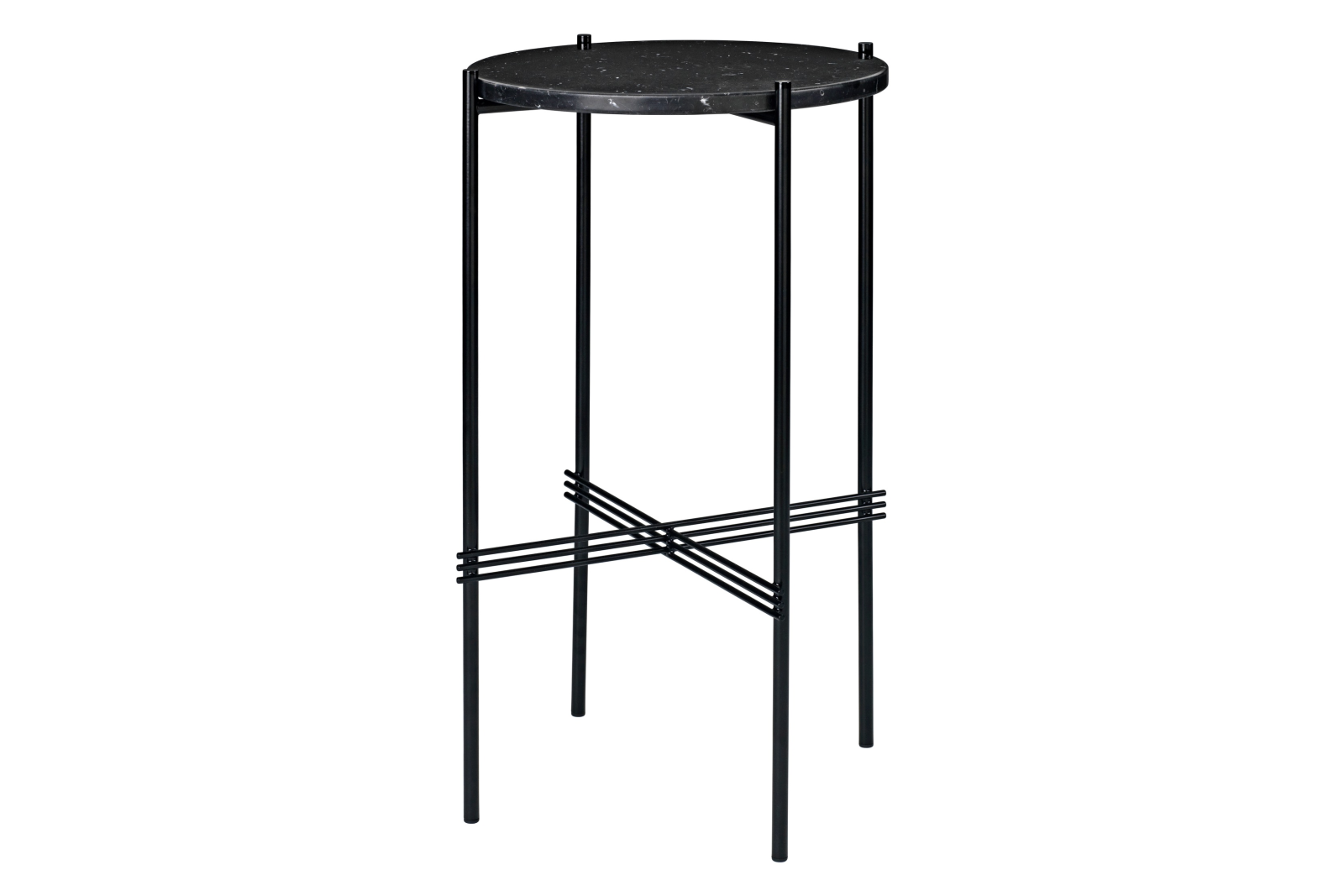 TS Round Console Table with Marble Top Gubi Marble Nero Marquina, Gubi Metal Black