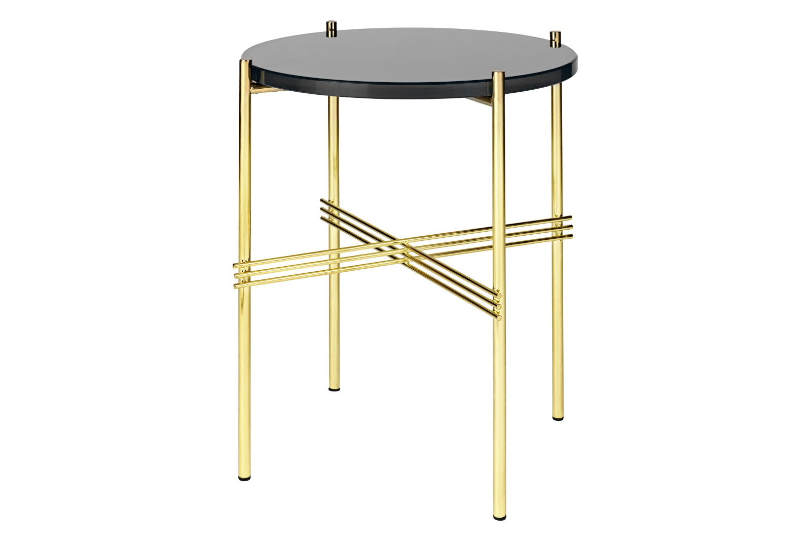 TS Round Side Table with Glass Top Graphite Black Top and Brass Frame, 0 40 x 51 cm