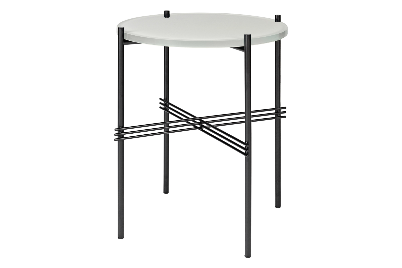 TS Round Side Table with Glass Top Oyster White Top and Black Frame, 0 40 x 51 cm