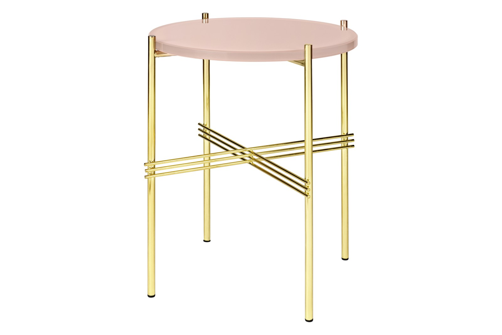 TS Round Side Table with Glass Top Vintage Red Top and Brass Frame, 0 40 x 51 cm