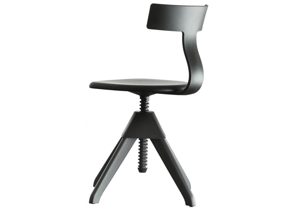 Tuffy Swivel Chair - The Wild Bunch Painted Black Seat and Frame, Matt Black Back, Joint and Screw