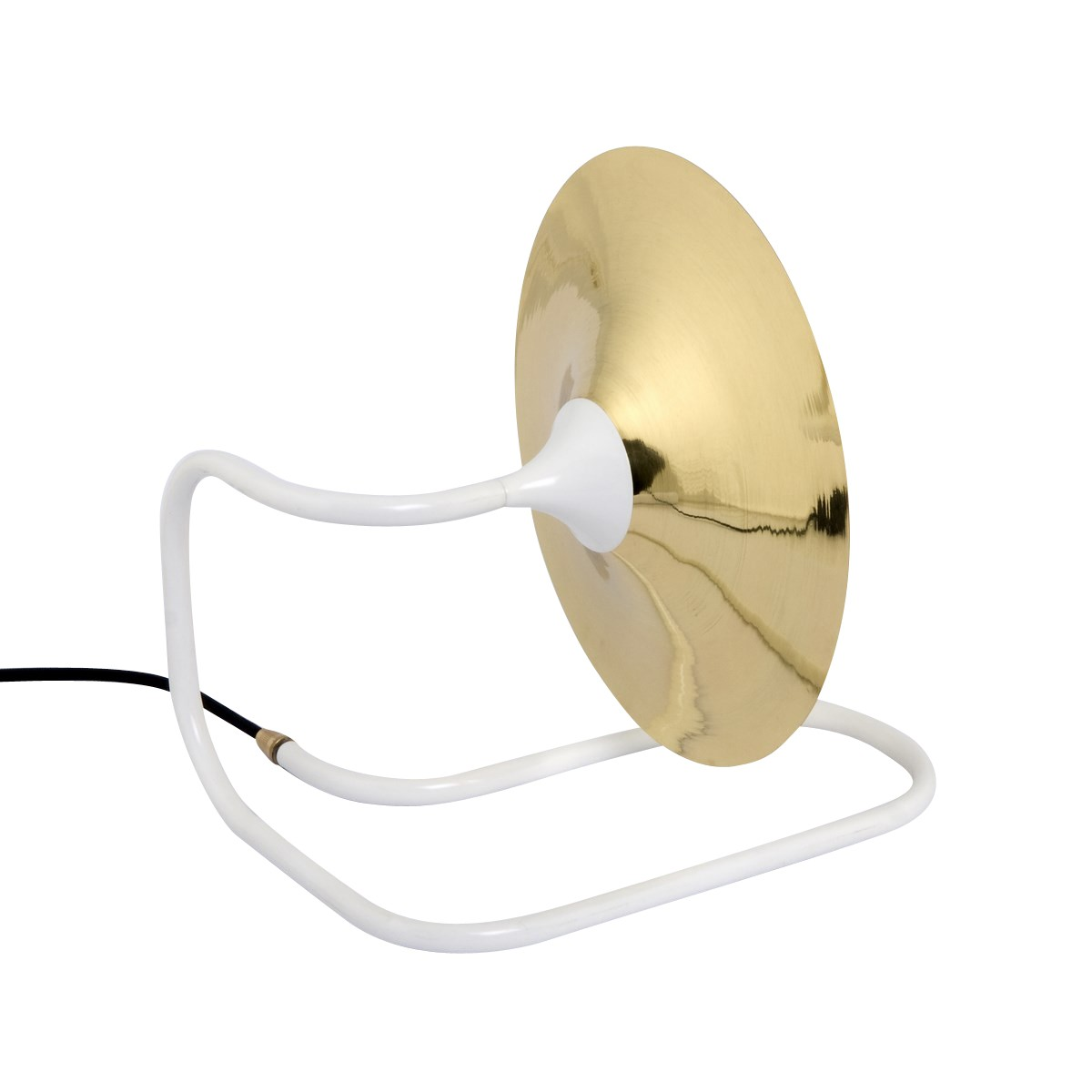 Turbaya Table Lamp Brass and White with Black Cable
