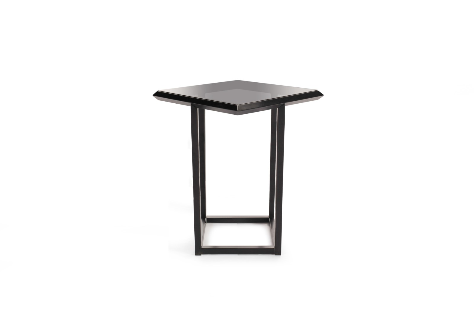 Turn Side Table Jet Black - RAL 9005, Smoked Glass