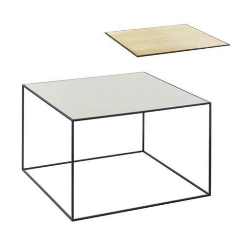 Twin Table - Rectangular Brass & Misty Green, Black Frame
