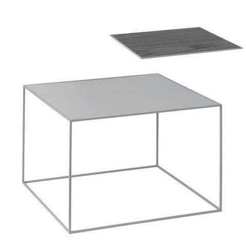 Twin Table - Rectangular Cool Grey & Black Stained Ash, Grey Frame