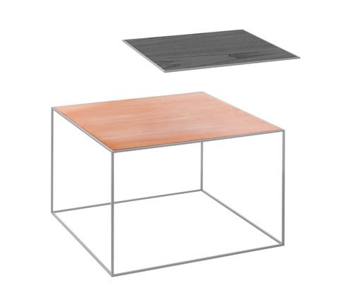 Twin Table - Rectangular Copper & Black Stained Ash, Grey Frame