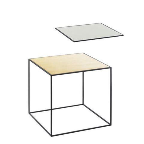 Twin Table - Square Brass & Misty Green, 35 x 35 cm, Black Frame