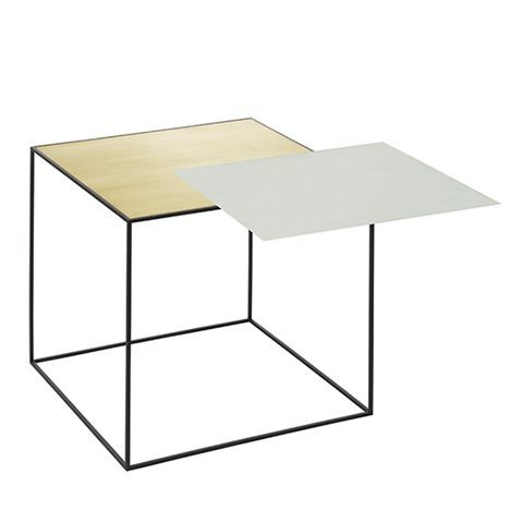 Twin Table - Square Brass & Misty Green, 42 x 42 cm, Black Frame