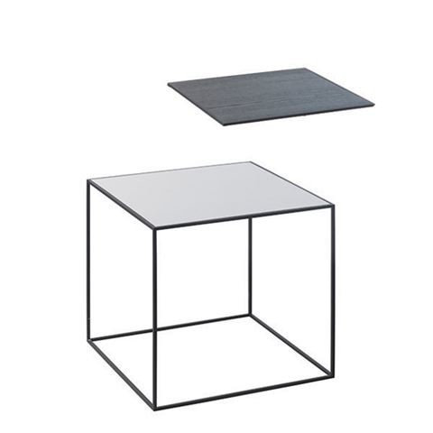 Twin Table - Square Cool Grey & Black Stained Ash, 35 x 35 cm, Black Frame