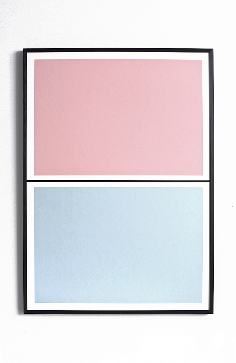 Twin Tone Play Screen Print - Granite Pink & Drift Blue Without Frame