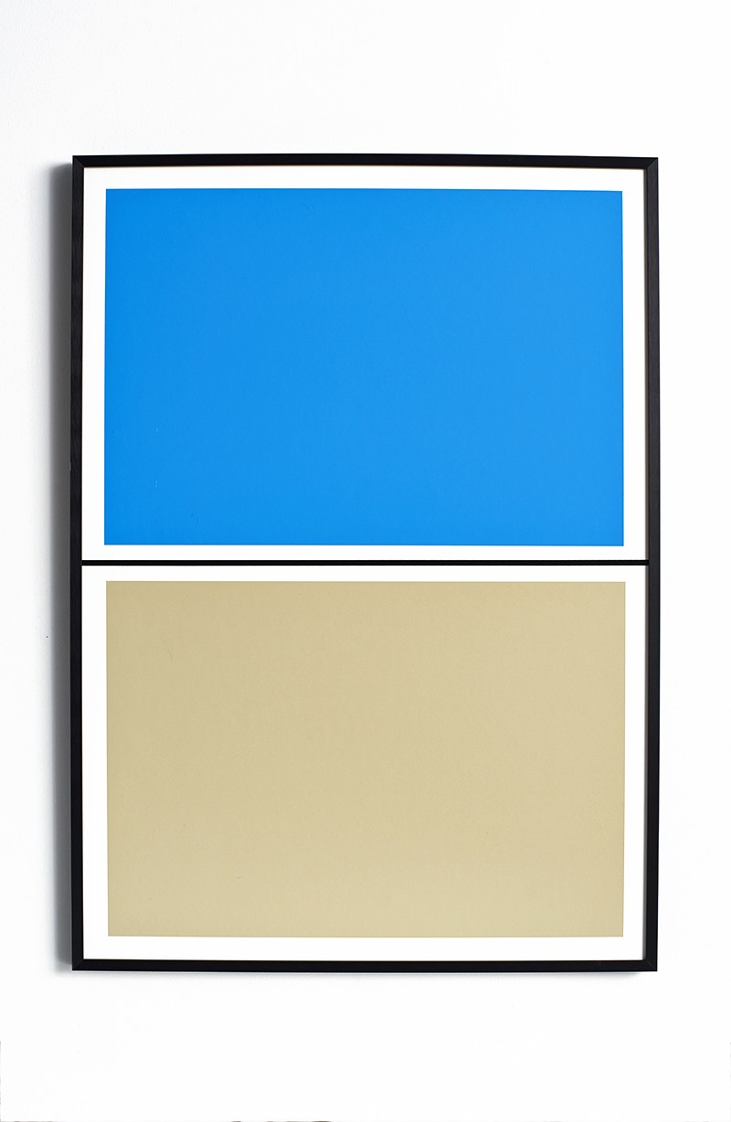 Twin Tone Play Screen Print - Pool Blue and Beach Without Frame