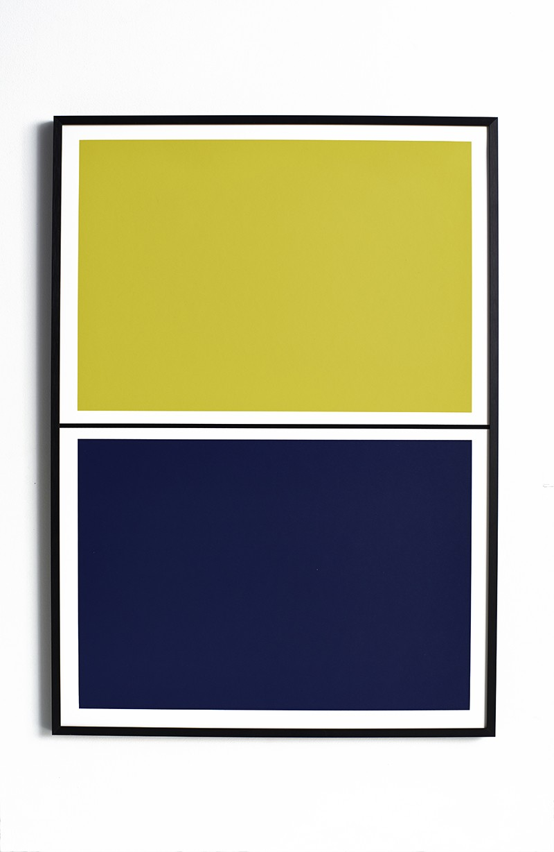 Twin Tone Play Screen Print - Yuzu Yellow & Mariana Blue With Frame