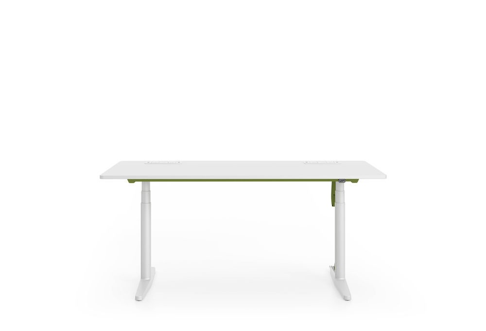 Tyde Meeting Sit-stand Meeting Table, 240 x 140 melamine soft light, with 2x cable outlets PORT - al