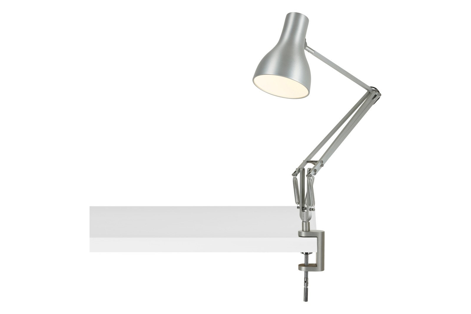 Type 75 Lamp with Desk Clamp Silver Lustre