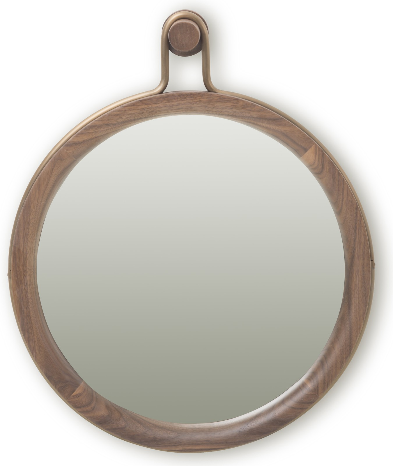 Utility Round Mirror Walnut Brown Stained Ash, Small