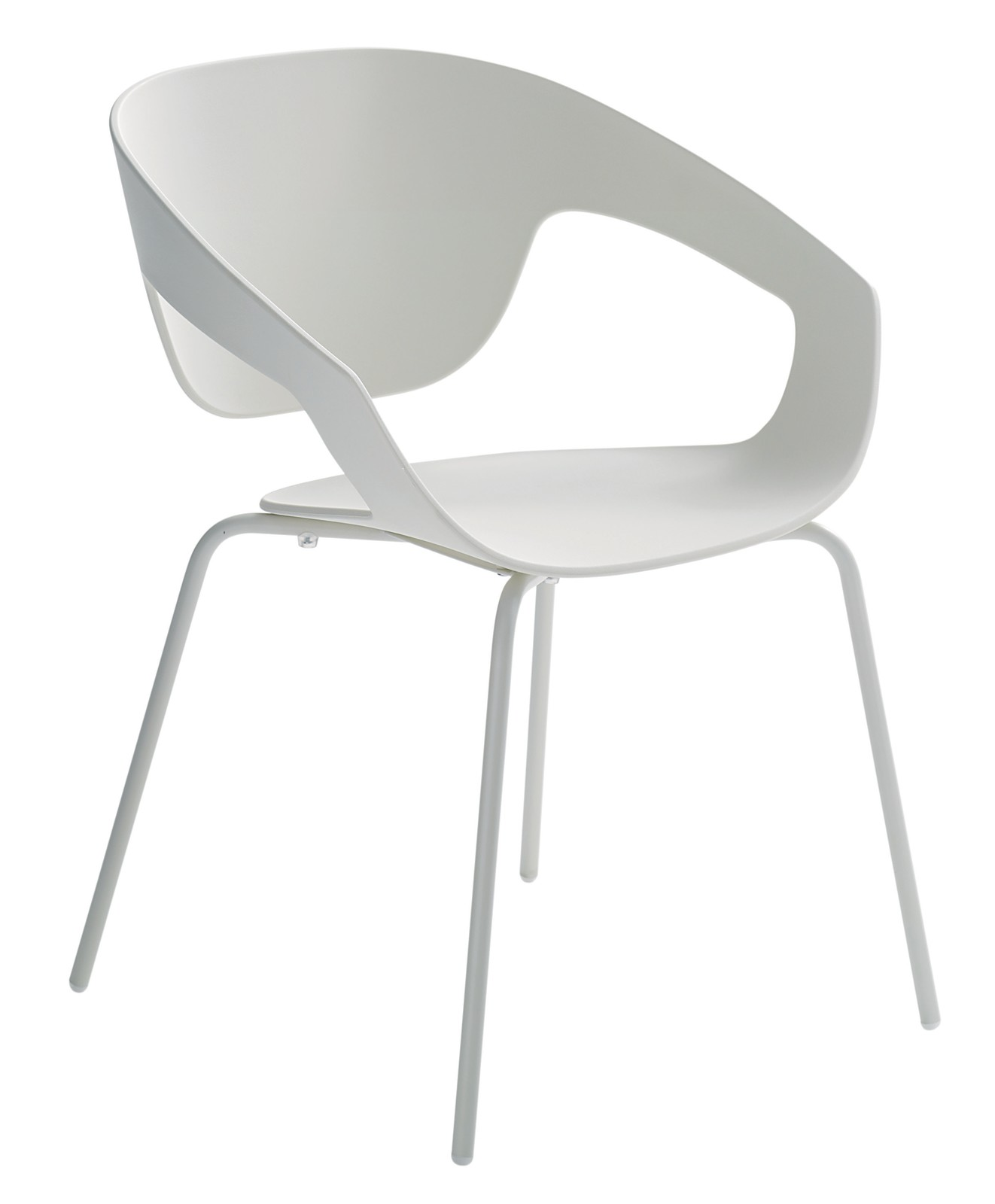 Vad Stackable Chair Four Leg Base- Set of 2 Matching Painted Metal, Ivory White