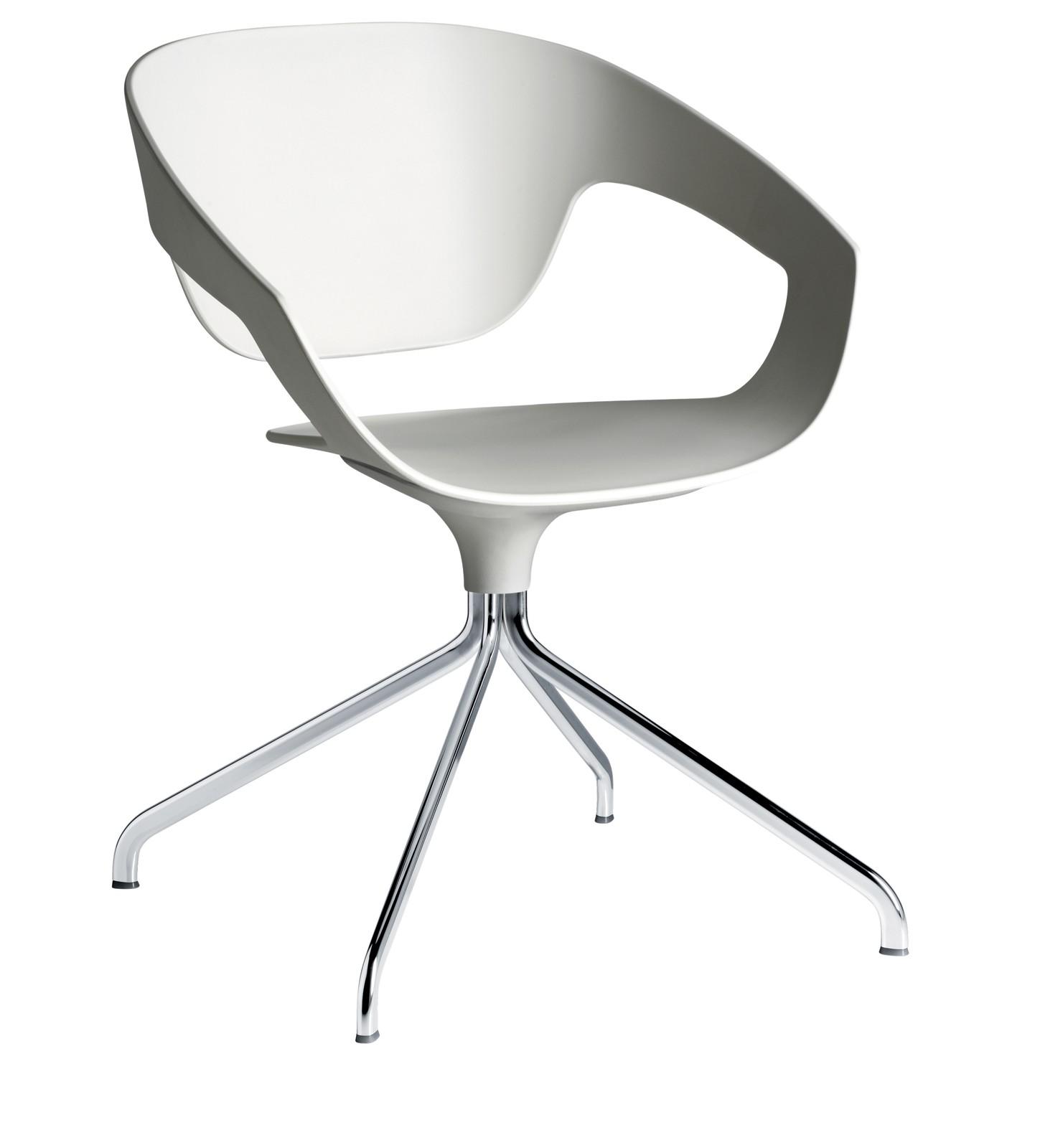VAD Swivel Chair Chromed Metal, Ivory White