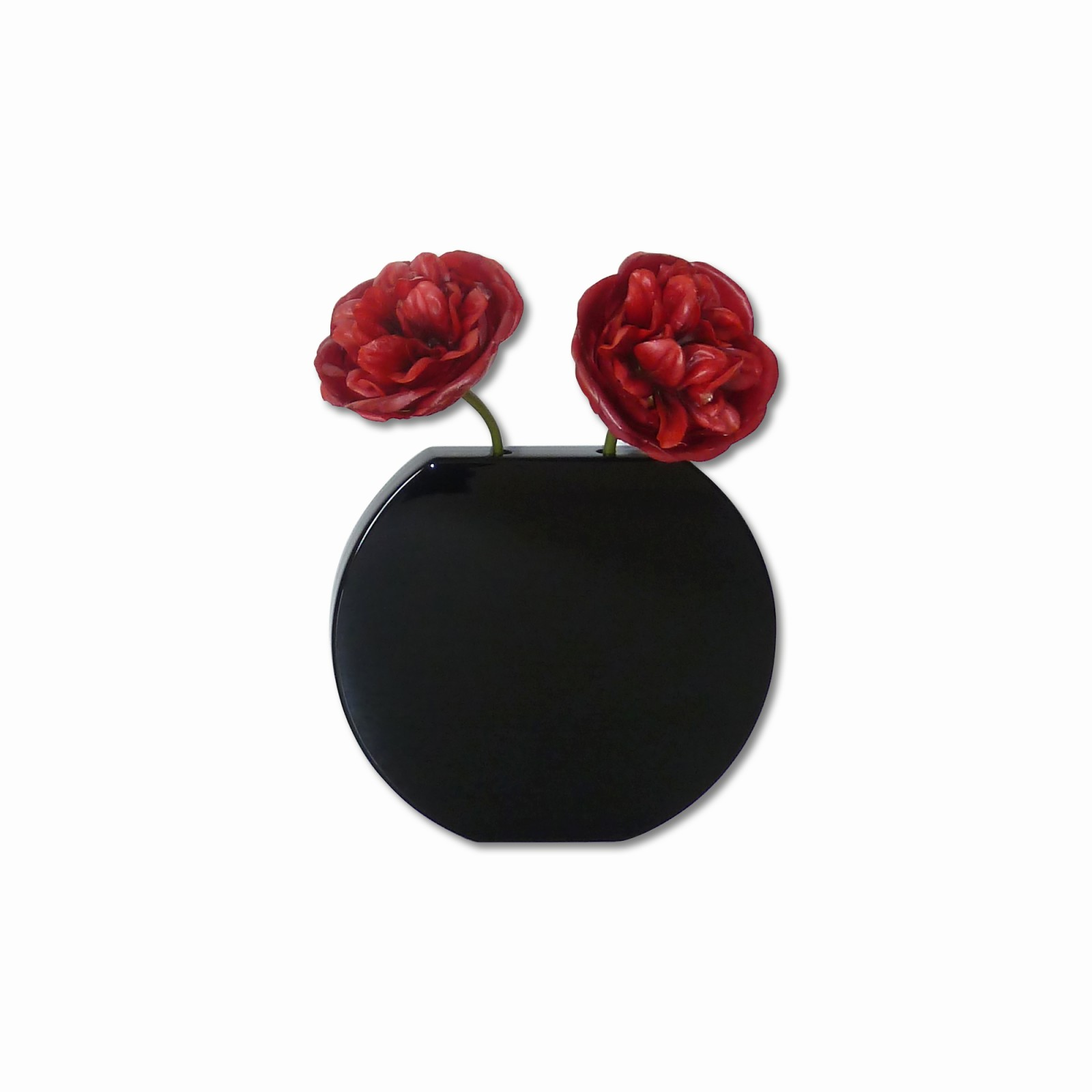 Vanity Vase - space saving vase Round Black