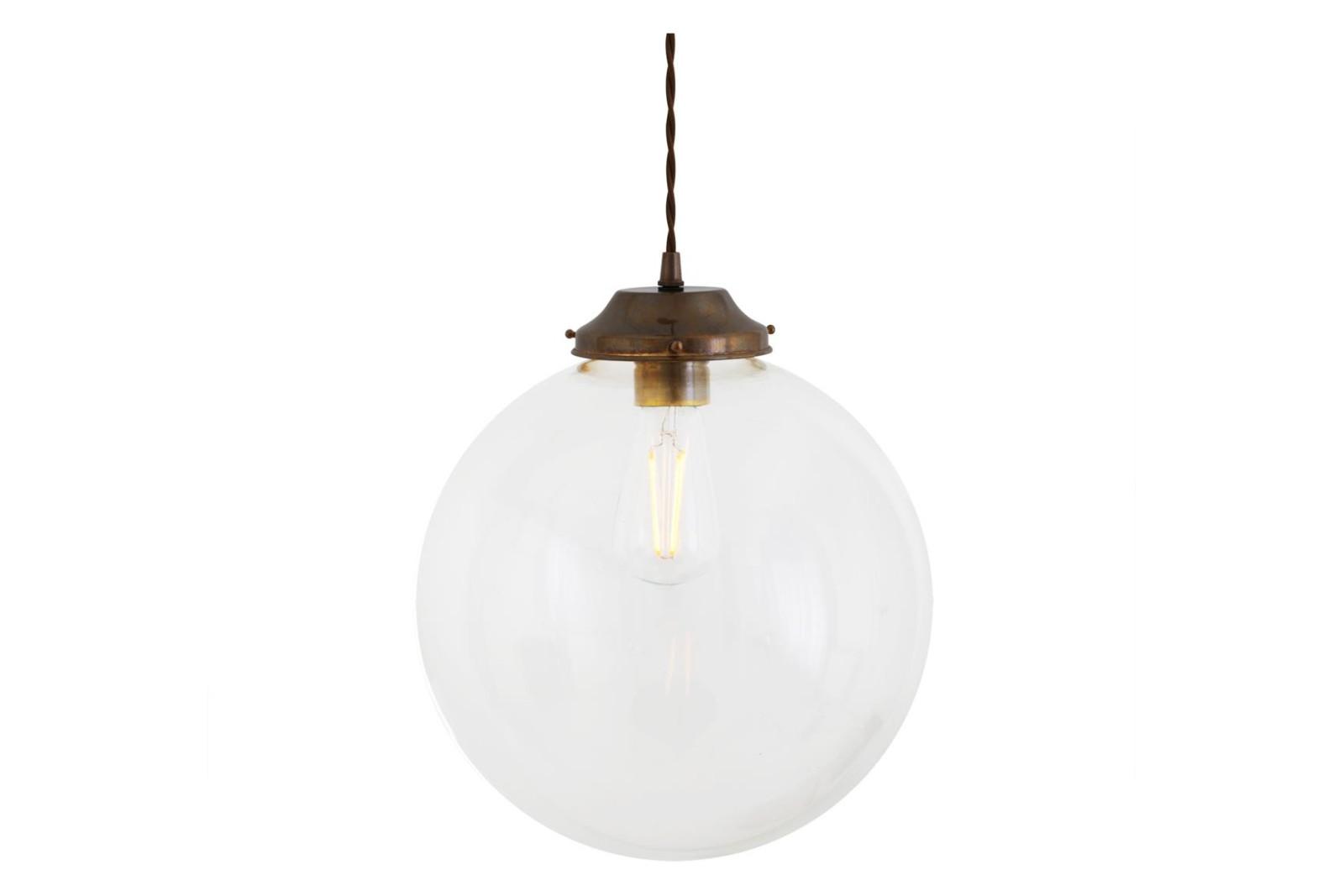 Virginia Clear Globe Pendant Light Antique Brass, 30cm