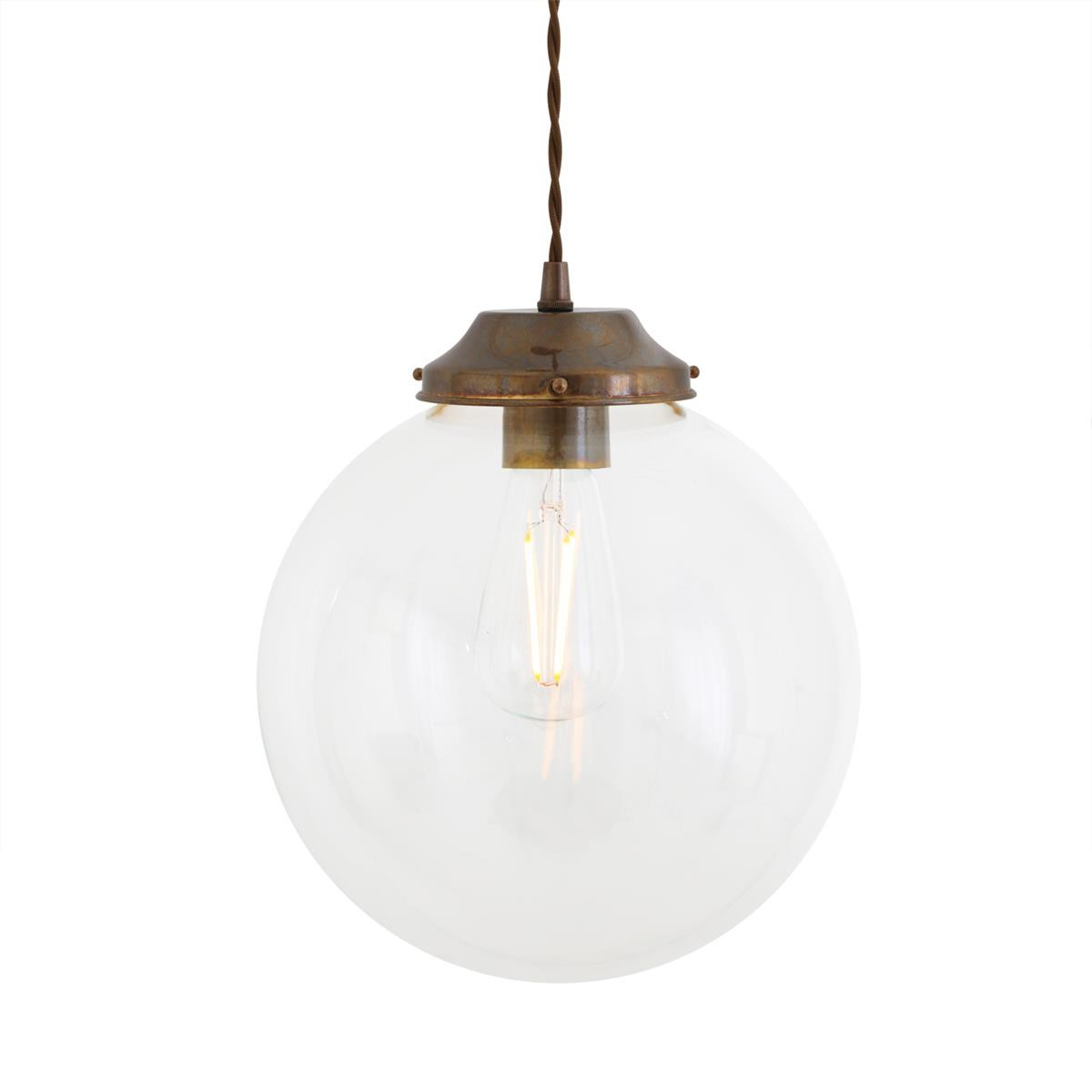 Virginia Clear Globe Pendant Light Antique Brass, 25cm