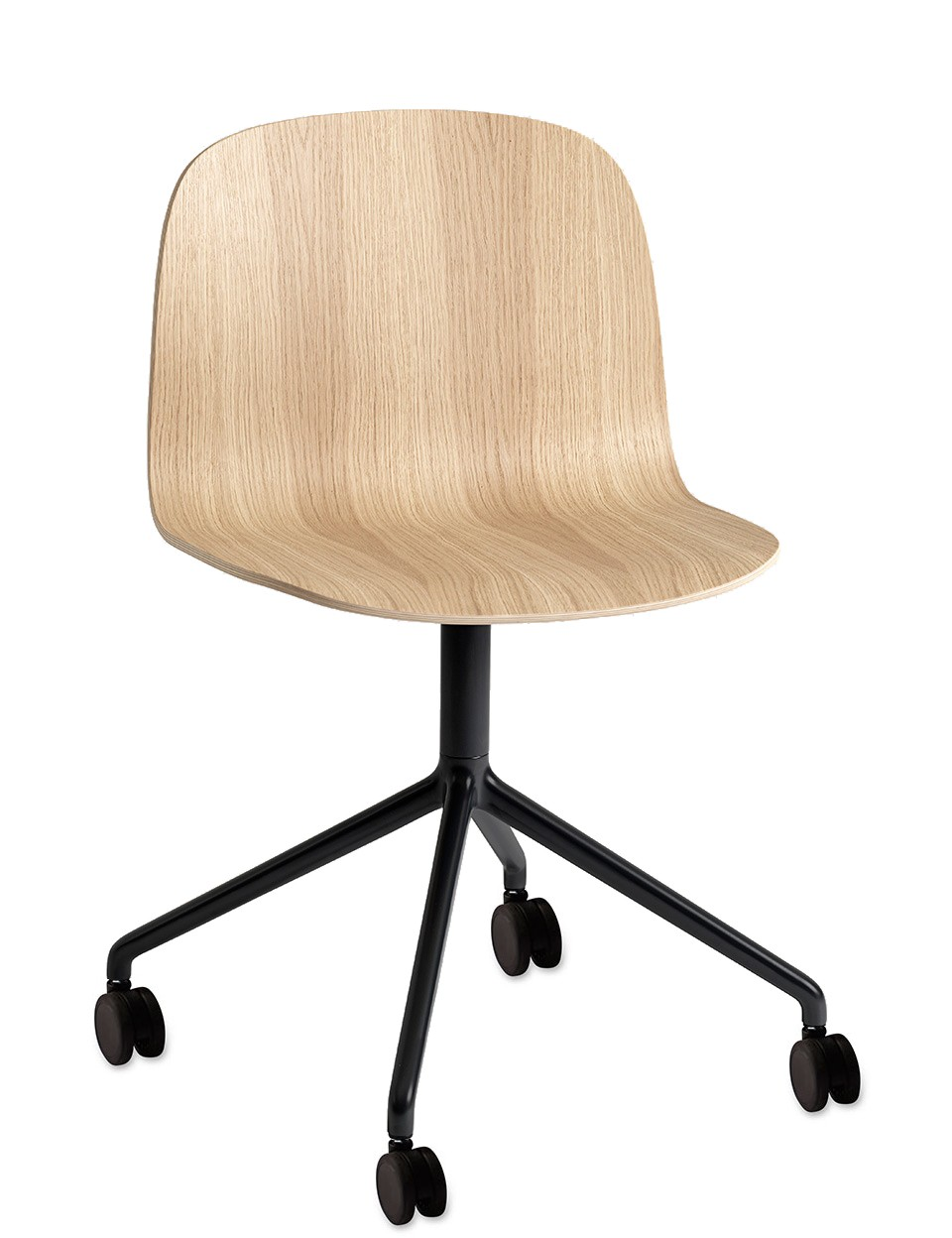 Visu Wide Chair / Swivel With Castors Oak/Black