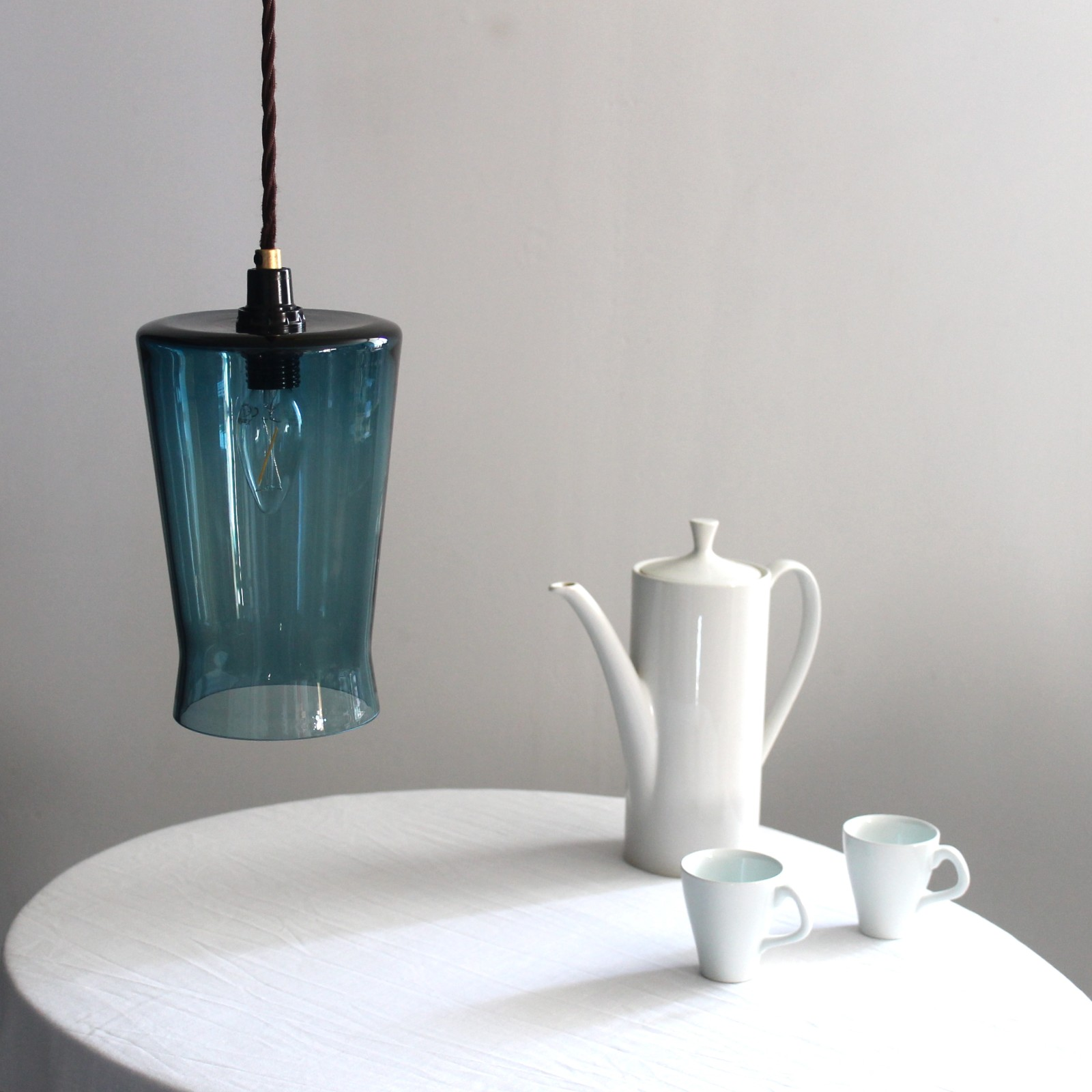 Waisted Flat Top Lampshade Teal Blue