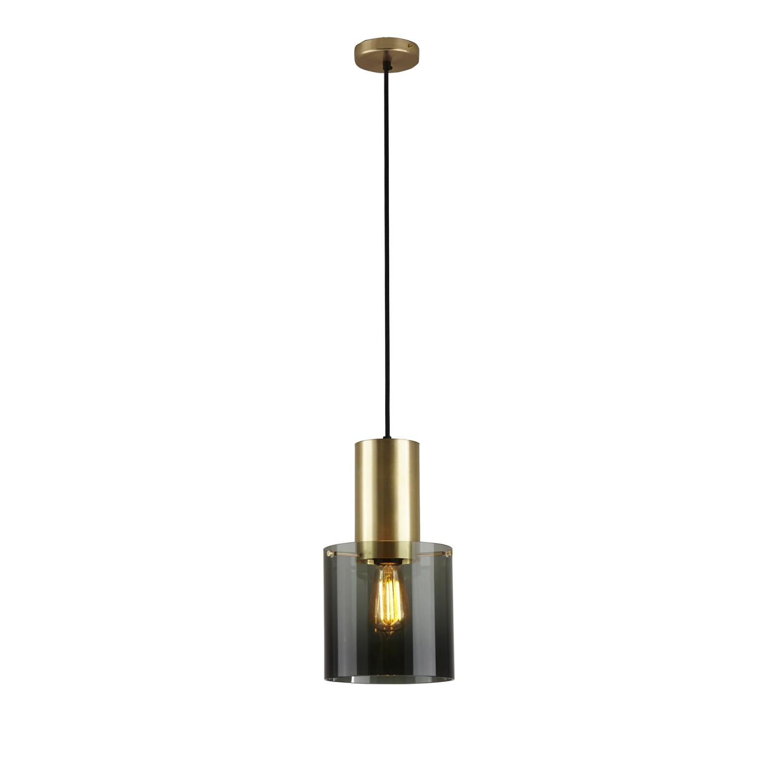 Walter Pendant Light Anthracite Glass & Brass, Large