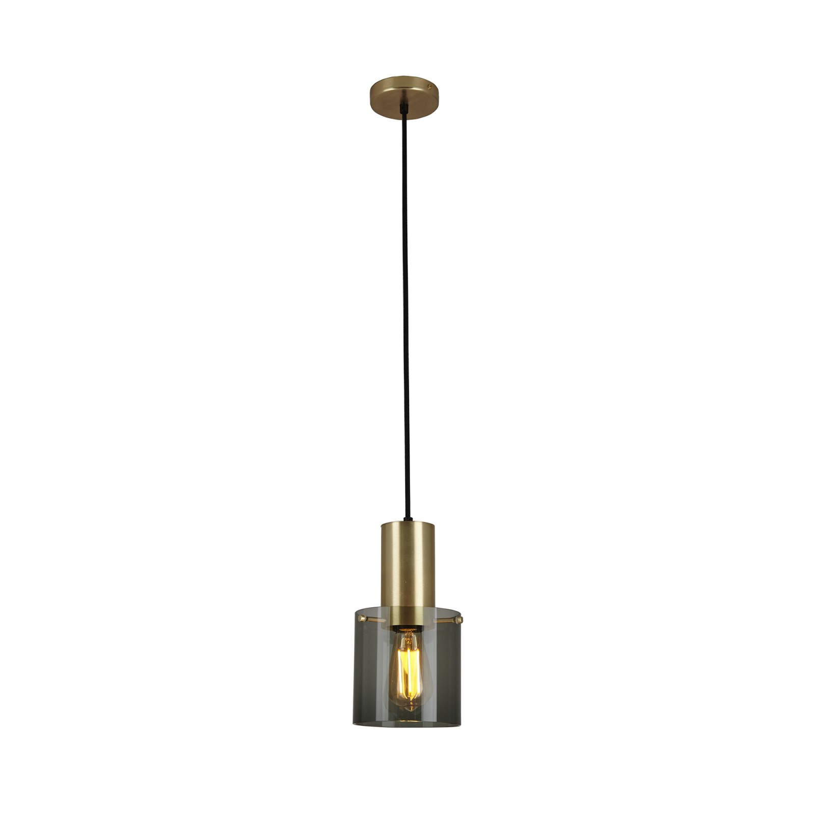 Walter Pendant Light Anthracite Glass & Brass, Small
