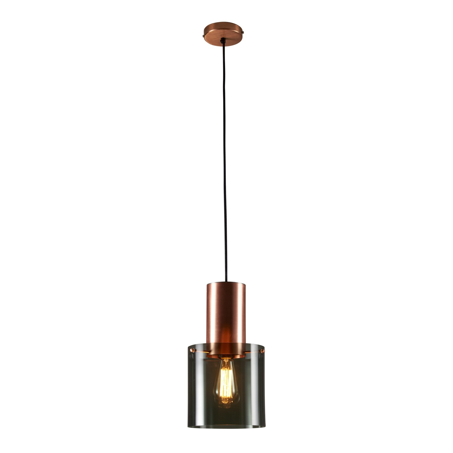 Walter Pendant Light Anthracite Glass & Copper, Large