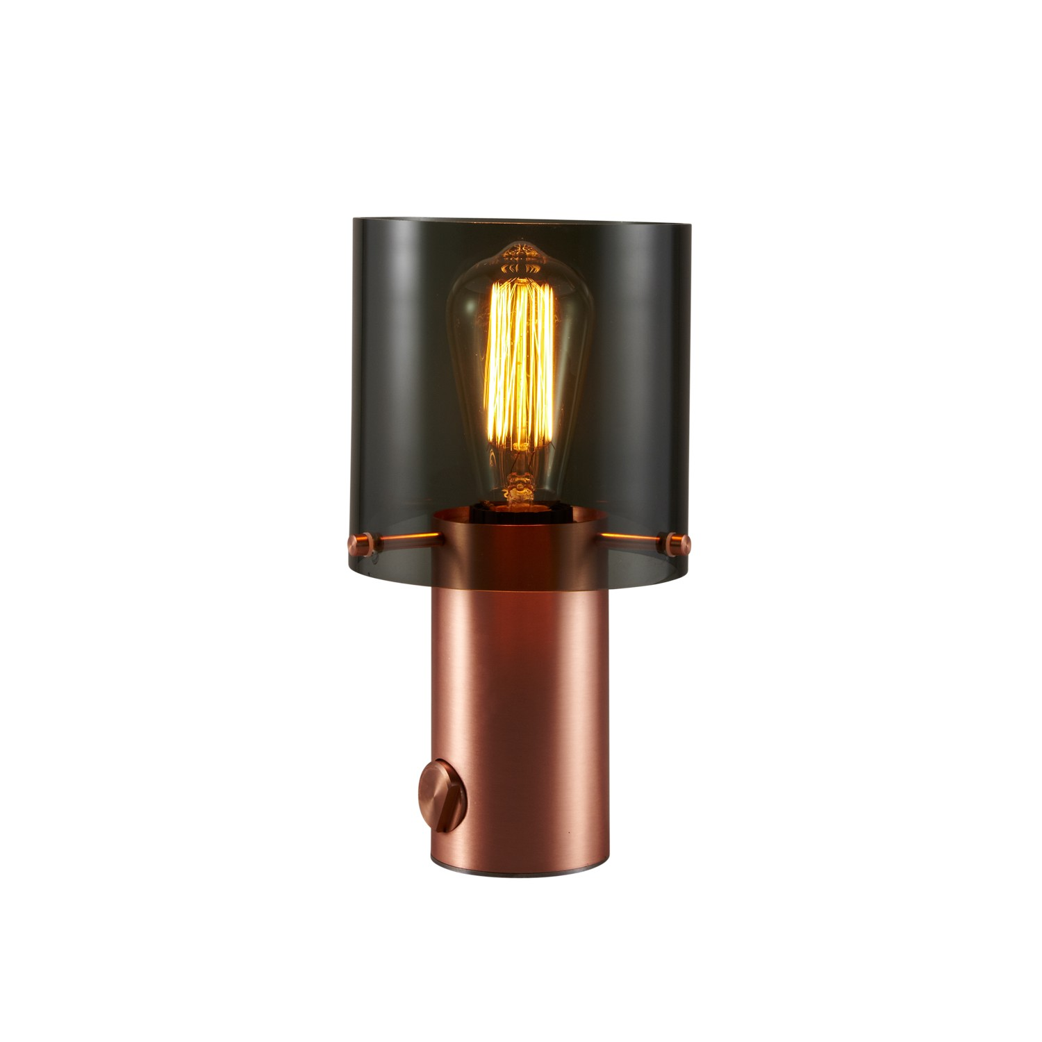 Walter Table Lamp Anthracite Glass & Copper, Large