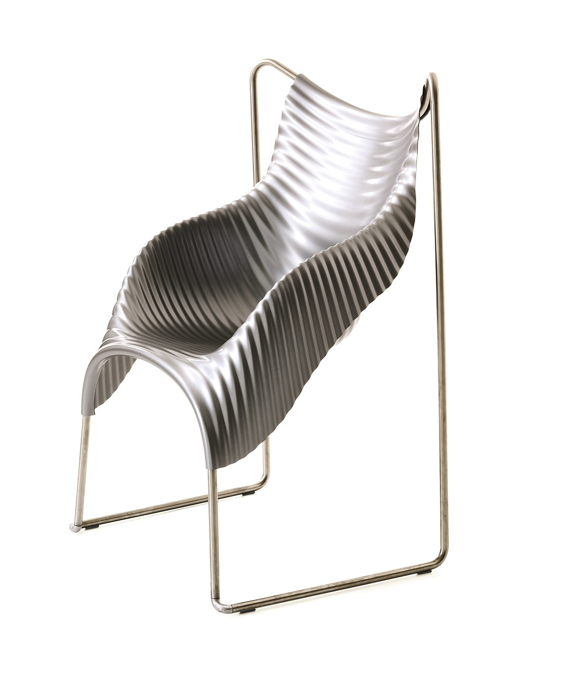 Wavy Chair Grey Shell, Stainless Steel Base
