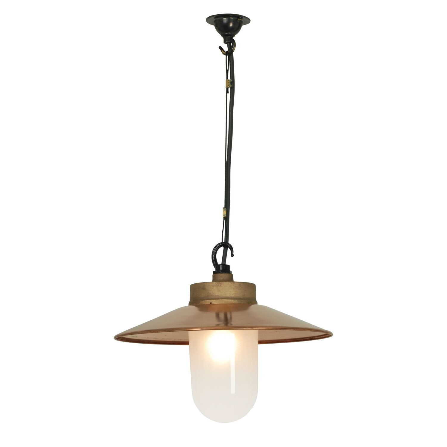 Well Glass Pendant Light with Visor 7680 Gunmetal, Frosted glass, IP20