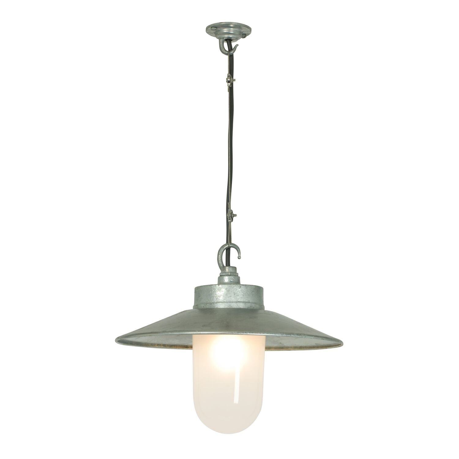 Well Glass Pendant Light with Visor 7680 Galvanised silver, Frosted glass, IP20