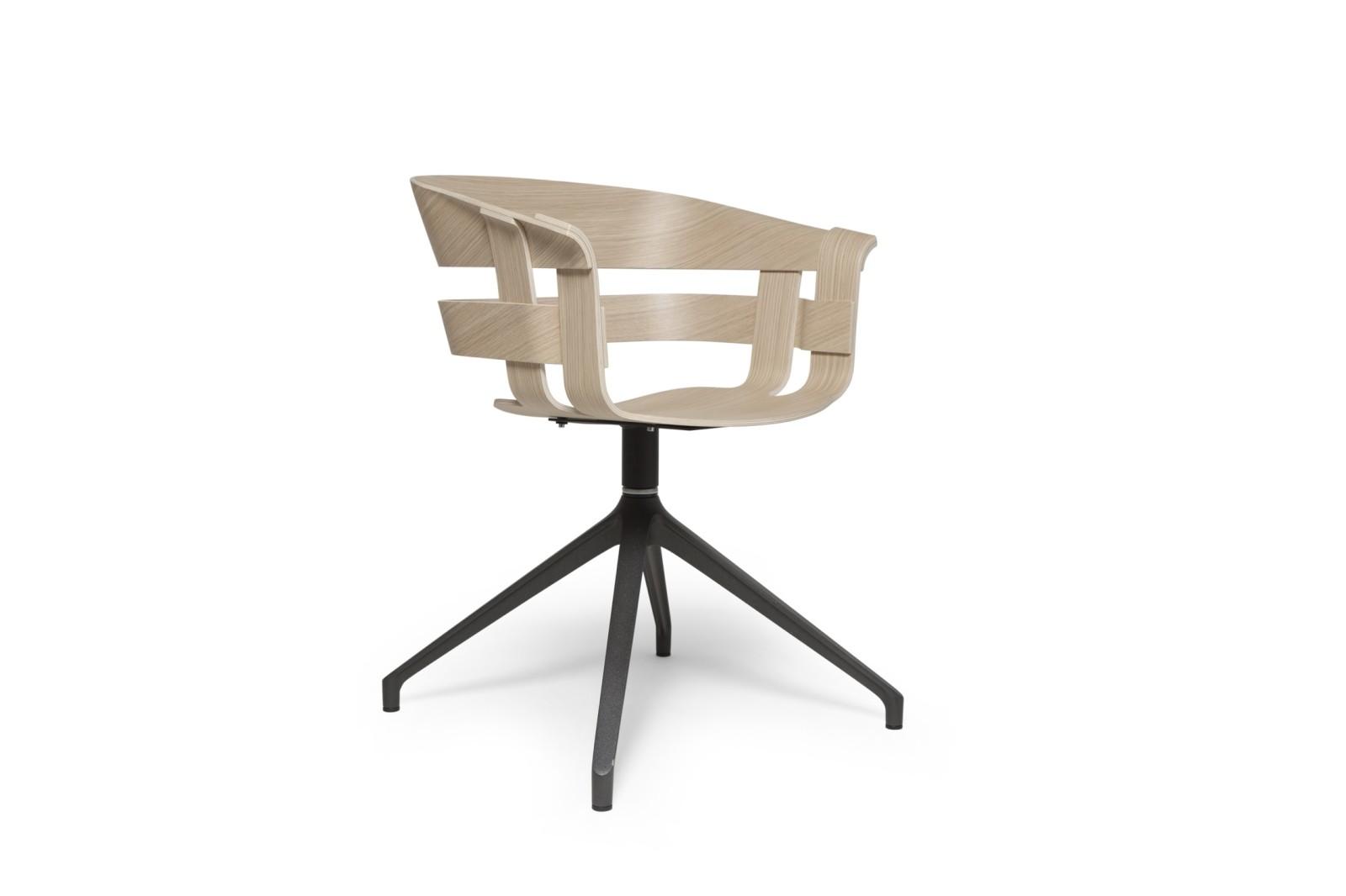Wick Chair - Swivel Base Oak seat, dark grey base