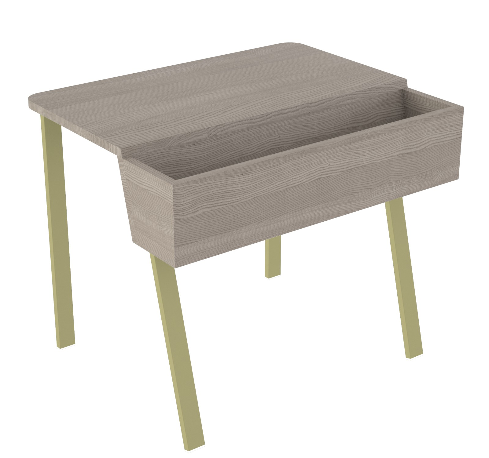 Wing Desk for One Wing desk for One-grey stained solid ash tabletop-olive green metal frame