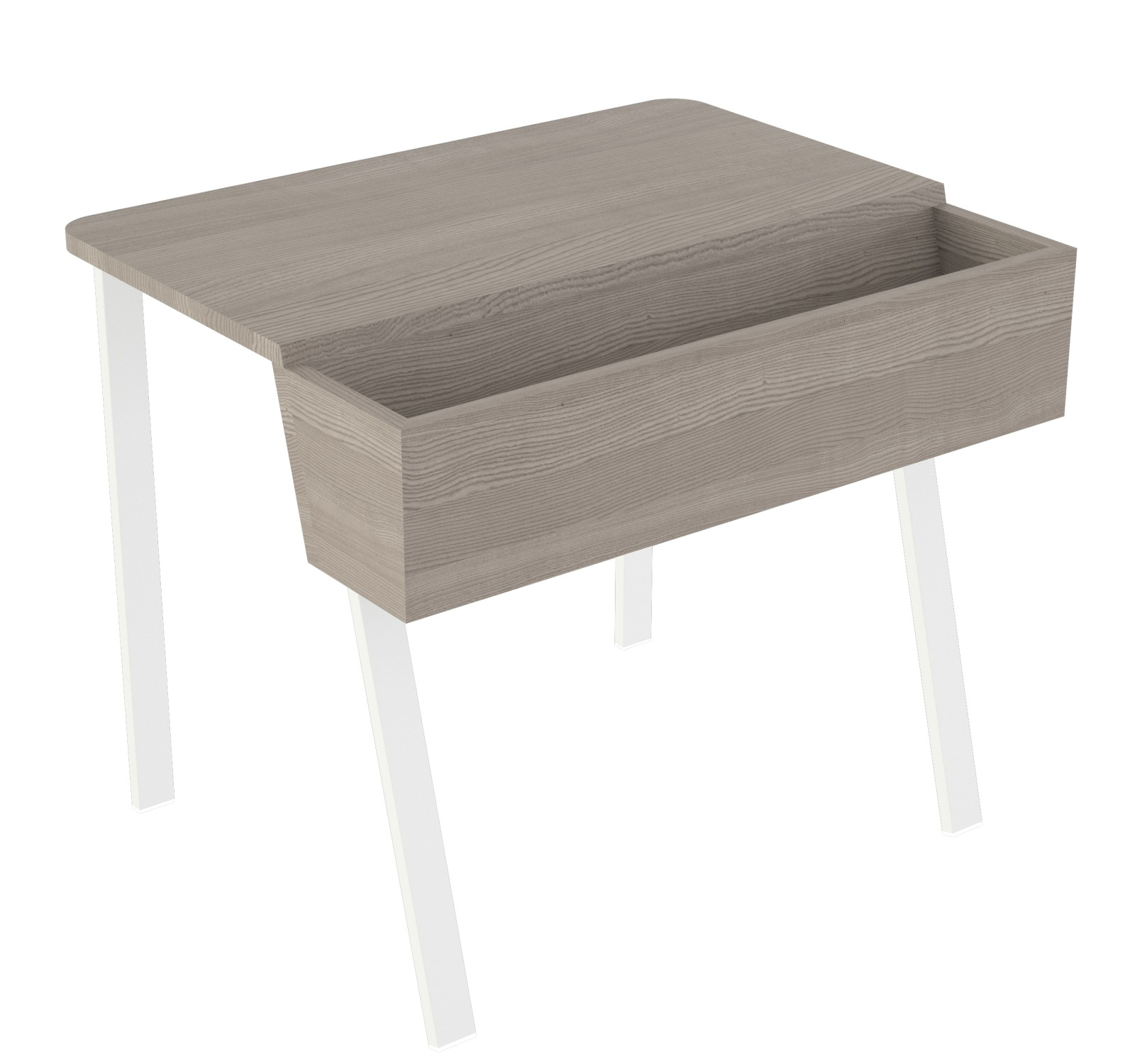 Wing Desk for One Wing Desk for One-grey stained solid ash tabletop-white frame