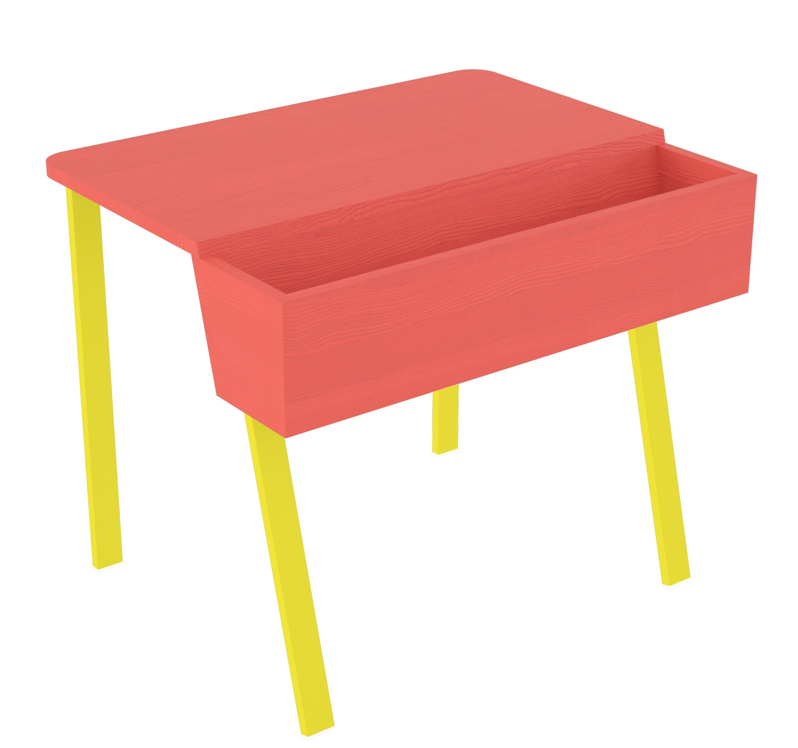 Wing Desk for One Wing Desk for One-red stained solid ash tabletop-yellow metal frame