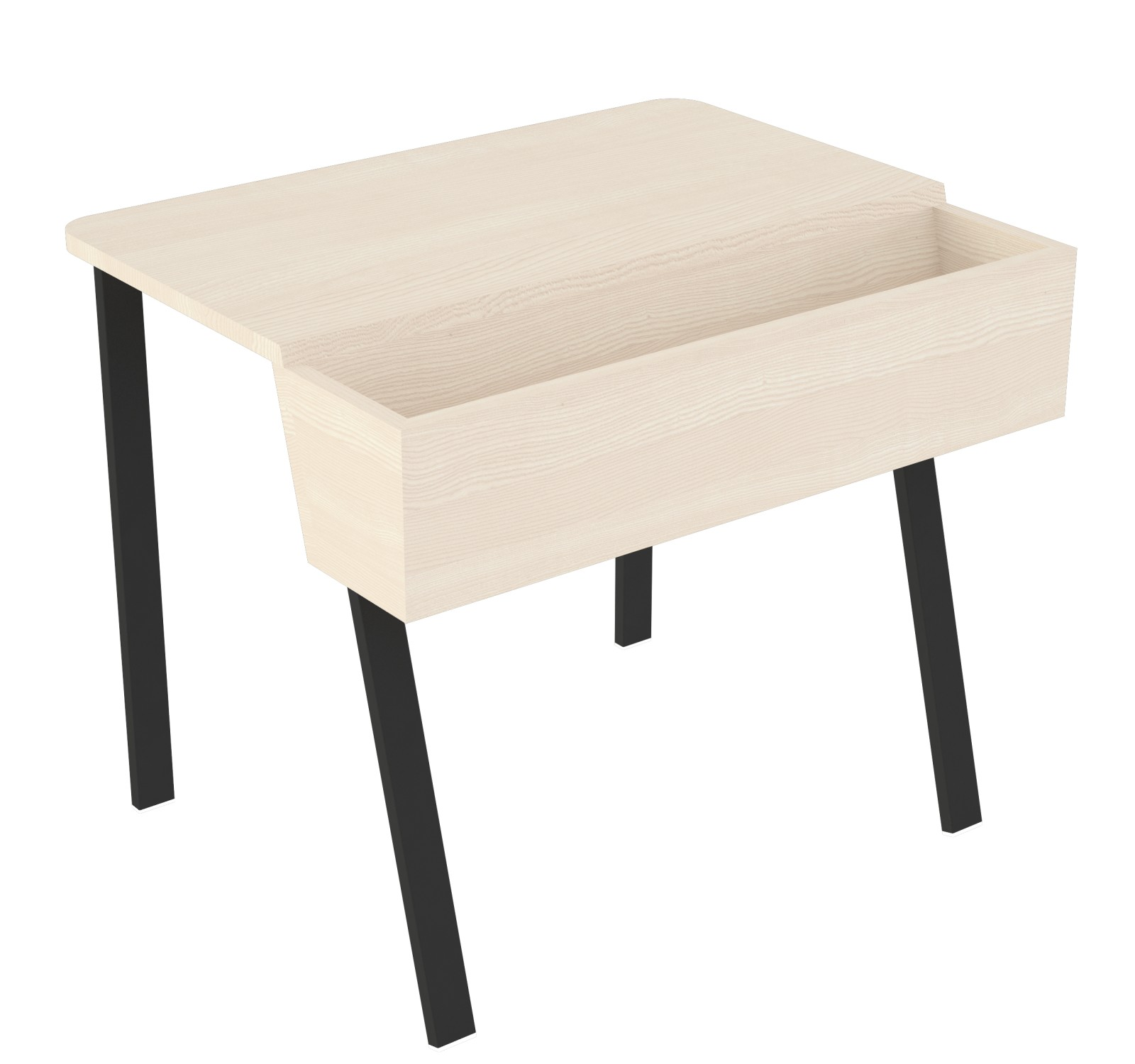 Wing Desk for One Wing Desk for One-white stained solid ash tabletop-black metal frame