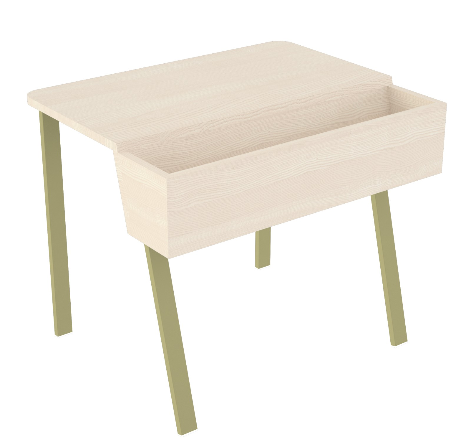 Wing Desk for One Wing Desk for One-white stained solid ash tabletop-olive green frame