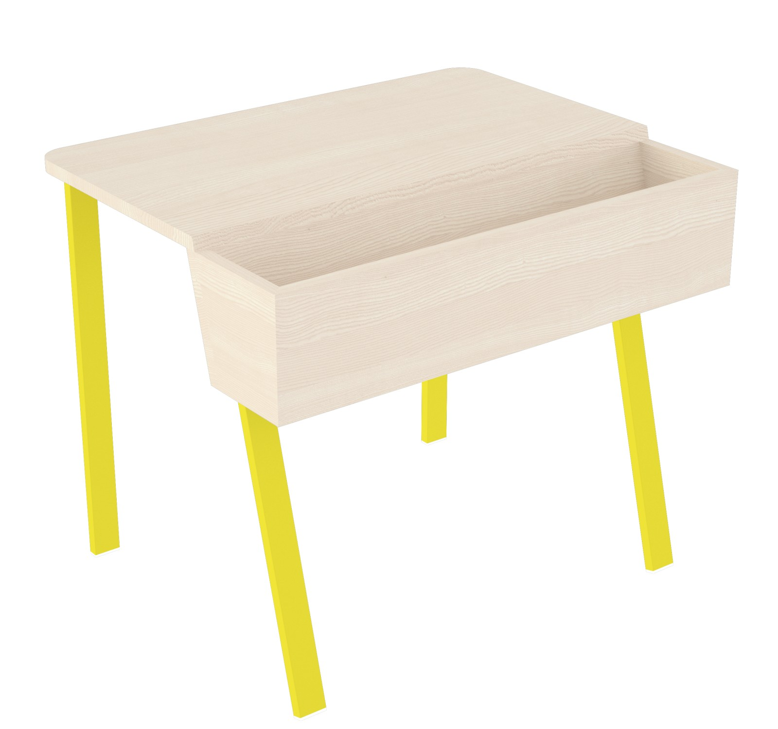 Wing Desk for One Wing Desk for One-white stained solid ash tabletop-yellow metal frame