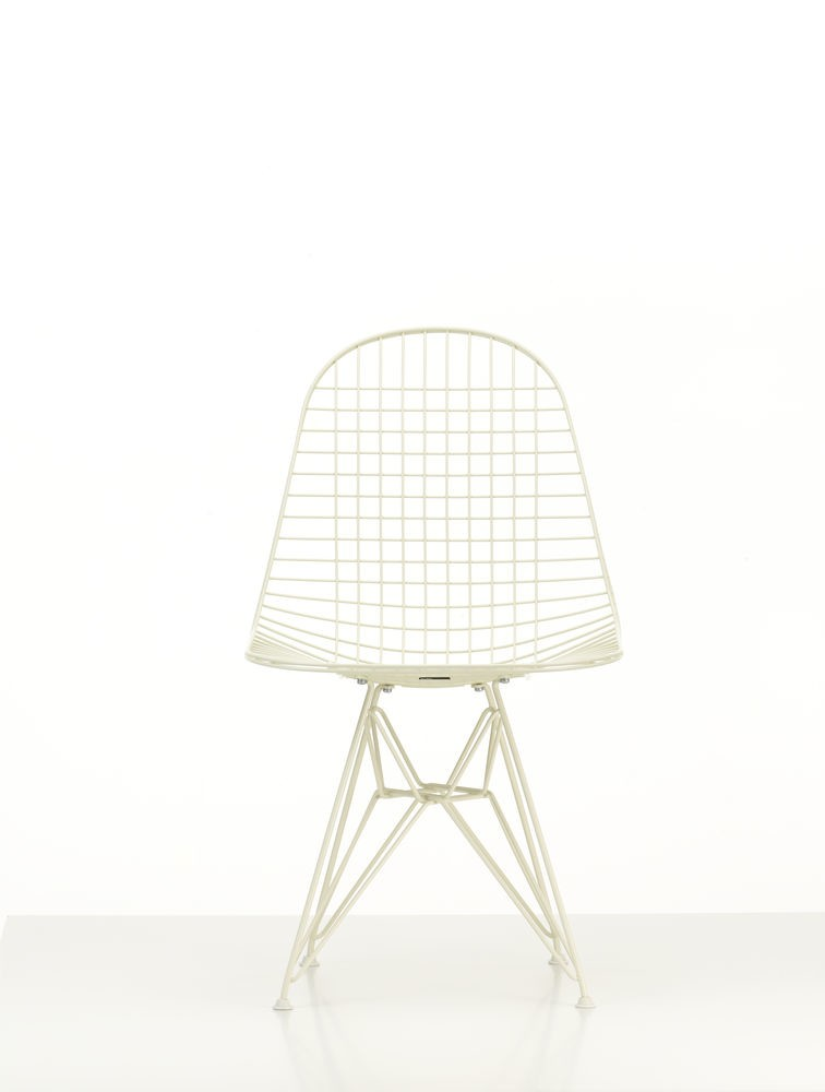 Wire Chair DKR 17 cream matte powder-coated, 14 white for carpet