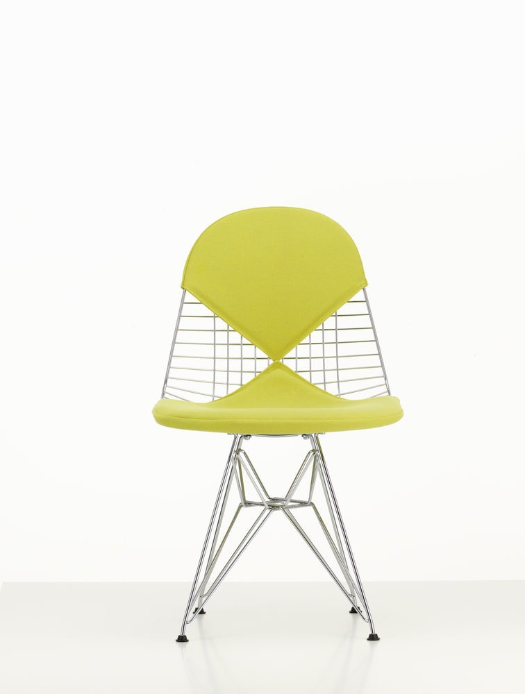 Wire Chair DKR 2 Hopsak 71 yellow/pastel green, 01 chrome, 04 basic dark for carpet
